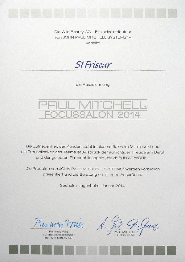 Auszeichnung Paul Mitchell - Focussalon 2014